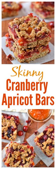 Skinny Cranberry Apricot Bars. Soft, chewy and fruity, this recipe is perfect for dessert, lunchbox, or an afternoon snack!