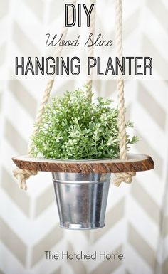 wood slice hanging planter, container gardening, crafts, gardening, how to, woodworking projects