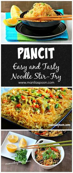 Pancit / Pansit (Philippine Noodle Dish) - Savory deliciousness with a hint of sweetness and lemony tang is this tried and tested EASY recipe for the classic Filipino noodle stir-fry PANCIT! Perfect for any party as it is a sure crowd-pleaser! Asian Recipes, Healthy Recipes, Ethnic Recipes, Vegetarian Recipes, Comida Filipina, Asian Cooking, Mets, International Recipes, I Love Food