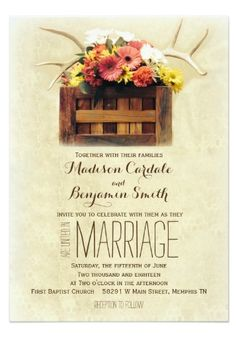 Floral Antlers Boho Rustic Country Wedding Invitations 40% OFF when you order 100+ Invites.  #wedding #boho