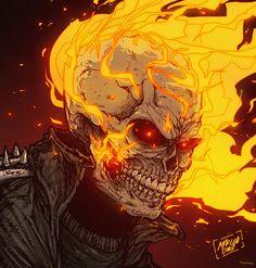 Ghost Rider (by Marlon Diniz) Marvel Comics Art, Marvel Comic Books, Marvel Characters, Marvel Heroes, Comic Books Art, Comic Art, Ms Marvel, Captain Marvel, Ghost Rider Drawing