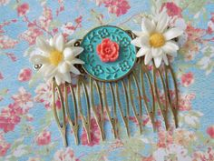 Hey Daisy Vintage Collage Hair Comb  Upcyled by hangingbyathread1, $18.00
