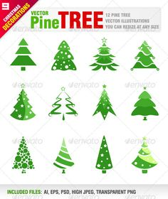 12 Pine Trees #GraphicRiver Vector set of 8 different pine trees Vector illustrations. You can resize at any size. Ai, eps, psd, jpeg and transparent png files included in the zip file. Each tree included in different layer for ai, eps and psd documents. You can see other christmas design elements from my portfolio. Please, dont forget to rate my vectors! Thank you CHRISTMAS Created: 1December12 GraphicsFilesIncluded: PhotoshopPSD #TransparentPNG #JPGImage #VectorEPS #AIIllustrator Layered…