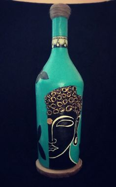 Beer Bottle Crafts, Wine Bottle Art, Diy Bottle, Glass Painting Designs, Pottery Painting Designs, Painted Glass Bottles, Decorated Bottles, Bottle Painting, Creations