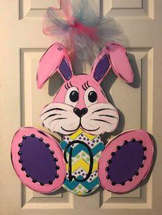 pink easter bunny door decor