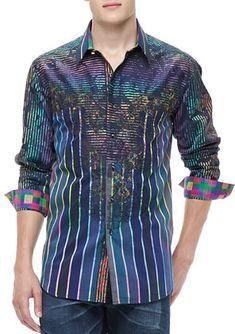 Robert Graham Laser Stripe Multi Print Sport Shirt. Buy for $498 at Neiman Marcus.