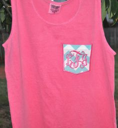 Monogrammed Comfort Colors/Garment Dyed Pocket Tank - Monogram Tanktop, Chevron on Etsy, $19.99