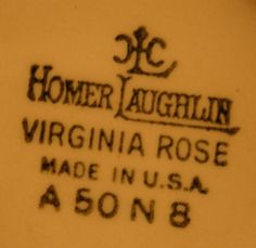 Homer Laughlin's Virginia Rose Mark. My Grandma's dishes  K48N8
