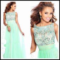 Scoop Top Beads Chiffon ELegant Long Mint Prom Dresses 2014 Vestidos De Fiesta Abendkleider-149$