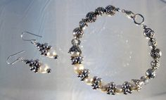 Rose and Pearl Bracelet and Earring Set by blingbychristine, $15.00