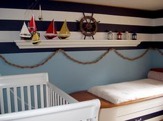 A little over the top (for what I want in Jacob's nursery/room), but definitely could get some inspiration from this nautical-theme room.