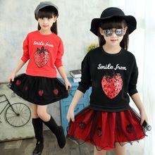 Bahar Yaz Kız Giyim Setleri Sweatshirt + Etek 2 adet Çocuk Kız Set Çocuk Giyim Bebek Giysileri Kız Kıyafet 2 adet/takım(China)