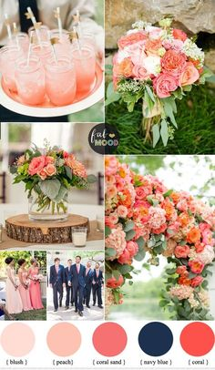 Beautiful summer wedding color scheme - Coral and navy blue wedding colour palette. Navy blue brings modesty to your wedding day. Peach and coral brings