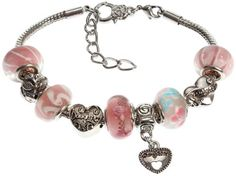 Daughter`s Charm Bracelet with Removable Pandora Compatible Italian Murano Glass Beads for Daughter in Pink, 7...