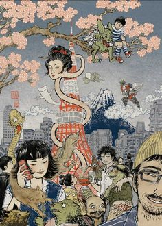 Yokai in Modern Times by Yuko Shimizu Editorial illustration, modern Japanese illustration