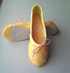 Buttercup Yellow Leather Ballet Shoes  Full sole  by GrandGear