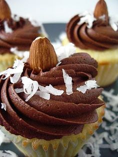 Chocolate Coconut Cupcakes (Almond Joy)