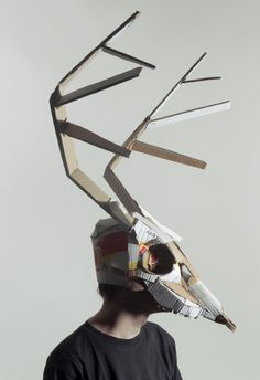 Scary recycled mask... a horned monster of some kind.  http://likeafieldmouse.com/post/47172532546/jozef-mrva-masks-2013