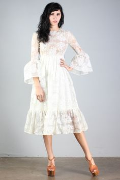 the bell sleeves! l vintage 60s lace dress