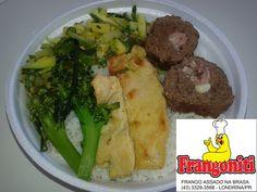 Para hoje serviremos: Filé de frango, rocambole de carne com presunto, queijo e bacon, abobrinha refogada, brócolis na manteiga, feijão com arroz mais salada...