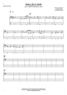 Hallelujah sheet music by Leonard Cohen. From album Various Positions (1984). Part: Notes and tablature for bass guitar.