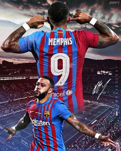 Soccer Backgrounds, Fc Barcelona Wallpapers, Memphis Depay, Dope Wallpapers, Football Pictures, Football Wallpaper, Football Players, Captain America, Superhero