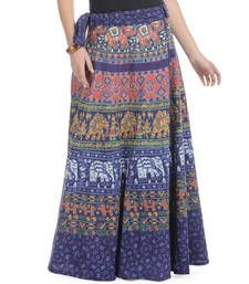 Buy Beige Bagru Printed Cotton Wrap Around Long Skirt skirt online ...