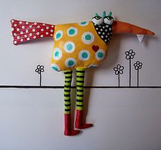 Sewing Toys funky stuffed fabric bird - Made from upcycled fabrics, sewn into fun critters, stuffed with plastic bags, primed for stiffness and painted with acrylic paints. Fabric Toys, Fabric Art, Fabric Crafts, Sewing Crafts, Sewing Projects, Softies, Fabric Animals, Fabric Birds, Felt Animals