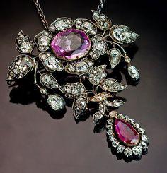 19th Century Victorian Pink Sapphire, Ruby and Diamond Pendant / Brooch #Pendant