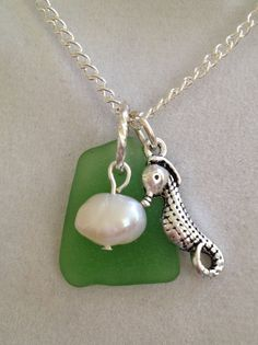 Bridal Seaglass Pearl and Seahorse Necklace by joytoyou41 on Etsy, $25.00