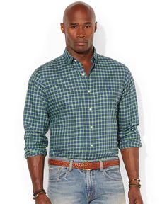 Polo Ralph Lauren Big and Tall Classic-Fit Checked Poplin Shirt