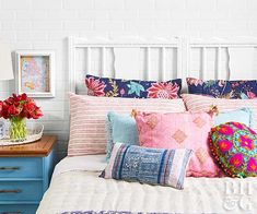 Make a thrifty grownup headboard from the ends of a disassembled crib. Secure the ends together at the back with a French cleat to make a queen-size focal point. Add nailhead trim for extra ornamentation if desired, then brush on a new coat of paint.