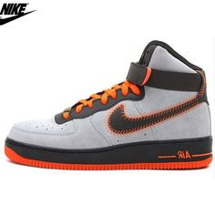 half off 65ad7 9aeef Mens Nike Air Force One HI CMF PRM Baseball Shoes Wolf Grey Black Orange  617858-