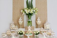 Hostess with the Mostess® - Wedding Candy Buffet    pinned by www.sweeteventdesign.com    colors-  cream, beige, tan, white  theme:  floral, lace, clean, sophisticated  occasion:  wedding, bridal shower