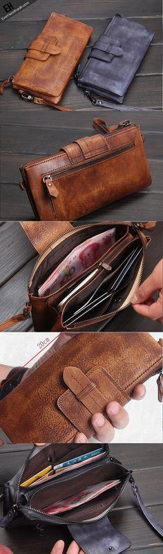 Handmade men long leather wallet clutch men bifold vintage gray brown