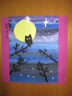 Teach shades/tints, silhouettes, how to draw tree branches, nocturnal animals - Clown - Animal Art Projects, Winter Art Projects, Owl Silhouette, 4th Grade Art, Nocturnal Animals, Ecole Art, Art Lessons Elementary, Halloween Art, Halloween Projects
