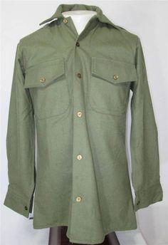 Vtg 80s N.Z. Army Shirt Magrath Manufacturing Co. Wool Blend OD Green US Size S #MagrathManufacturing