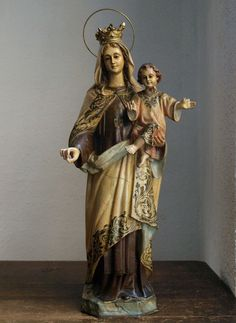 Etsy のOur Lady Of Mt. Carmel Madonna and Child Glass Eyes Statues Spain Olot Religious Antiques/440(ショップ名:GliciniaANTIC)