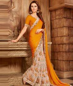 Orange Silk Printed Saree With Blouse 107581