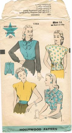 1940s Blouses Four Star Hollywood 1523 Vintage by JFerrariDesigns, $35.00