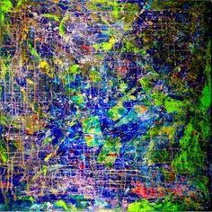https://nestortoro.com/shop/rain-forest-dream-3/ #art  Rainforest Dream 40*40in  acrylic on canvas #expressionism