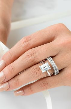 """Diamond Wedding Band Match the shape of your center diamond with the diamonds on your wedding band for a """"coordinated cuts"""" style. Big Wedding Rings, Wedding Band Sets, Diamond Wedding Bands, Diamond Rings, Diamond Engagement Rings, Wedding Jewelry, Diamond Cuts, Wedding Bells, Dream Wedding"""