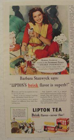 "1944 Lipton Tea Ad Barbara Stanwyck Photo ""Double Indemnity"" | eBay Lipton Ice Tea, Double Indemnity, Barbara Stanwyck, Tea Tins, Iced Tea, Print Ads, Vintage Advertisements, Movie Stars, Drinking"