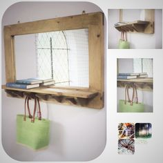 Large mirror with shelf & 5 hooks, pale wooden frame in natural eco friendly wood, custom sizes, handmade modern rustic style in Somerset Hallway Mirror, Mirror With Shelf, Mirrors, Furniture Making, Wood Furniture, Furniture Ideas, Entryway Furniture, Bedroom Furniture, Large Wooden Mirror