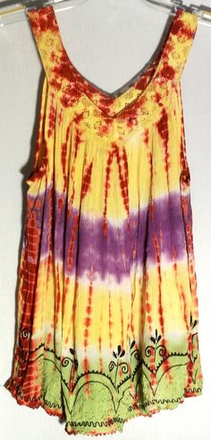 SACRED THREADS Multi-Color Crinkle Tie DyeTop - Lace Neck and Straps - Free Size #SacredThreads #TankCami