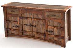 WoodLand Creek Furniture, Barnwood Sideboard - 4 Doors, 2 Drawers - Heritage Collection