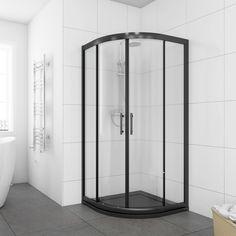 ELEGANT White / Black Quadrant Shower Enclosures Safety Sliding Glass Shower Cubicle Door with White/ Black Tray + Waste Black Shower Tray, Black Tray, White Shower, Bathroom Faucets, Small Bathroom, Bathroom Ideas, Bathroom Laundry, Bathroom Renos, Bathroom Inspo