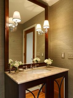 If your bathroom has an outdated medicine cabinet, replace it with a good-size mirror with a frame. It's amazing how this little change can dress up the room. The larger the mirror, the more light and color it reflects, making the room seem bigger. Mirror Cabinets, Cabinet Doors, Small Bathroom, Bathroom Ideas, Bathroom Updates, Beautiful Bathrooms, Bathroom Inspiration, Decoration, Sweet Home