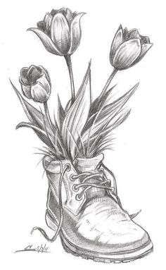 flower drawings | spring-time flowers, tulips, boot, sketch, pic, drawing #ad