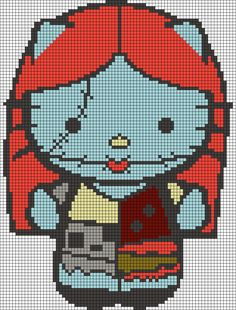 Alpha friendship bracelet pattern added by purpLhaze. Cross Stitch Art, Beaded Cross Stitch, Cross Stitching, Cross Stitch Patterns, Hama Beads, Perler Bead Art, Hello Kitty Crochet, Hello Kitty Halloween, Pixel Pattern